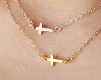 Sideways Cross Necklace in sterling silver, gold small cross necklace layering necklace christmas gift, silver cross, charm necklace, choker