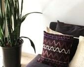 Decorative pillow: marsala wool pillow in tribal zig zags, chevron pillow, modern home decor, burgundy pillow