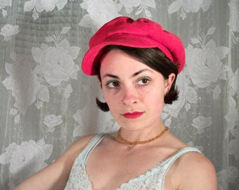 Red Corduroy Slouchy Newsboy Hat, 90s