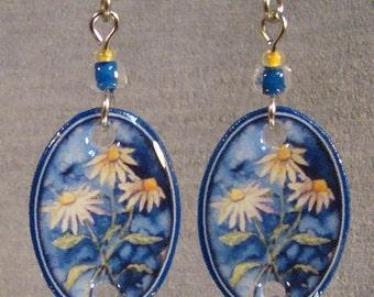 Daisy Painting Dangle Earrings - Flower Jewelry