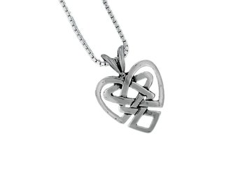 Heart Pendant Necklace 925 Sterling Silver Celtic Knot Charm