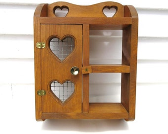 Vintage Hanging Cabinet, Wooden Wall Shelf, Curio Display, Knick Knack Shelf, Wood Hearts