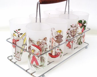 Vintage Rare Christmas Angel Frosted Glasses Gay Fab Glassware Metal Caddy Federal Set of 8