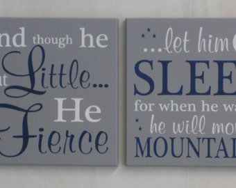 Nursery Wall Signs - He is Fierce, He will move Mountains (2 Signs) - LARGE Art Sign - Painted Navy & Gray - Baby Boy Nursery Art