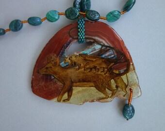 FREE SHIPPING Hand painted stone   Pendant Opossum 2