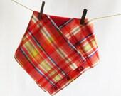 Colorful woven wool blend plaid  cowl  -- winter fashion -- women's cowl