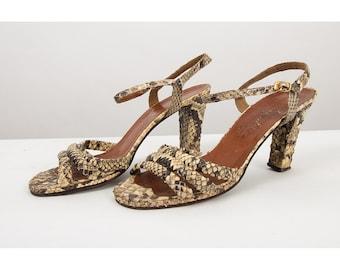 Vintage snakeskin strappy sandals / 1970s Studio 54 disco ankle strap heels 9