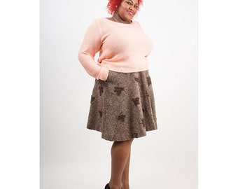 Tweed skirt / Vintage wool A line skirt / Autumn leaves / Plus size