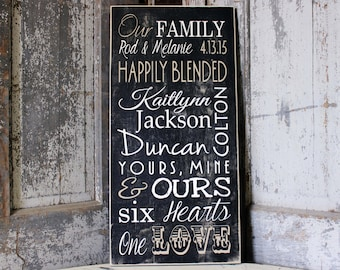 Personalized Blended Family Name Sign on Wood or Canvas , First We had Each Other Sign that includes Marriage Dates, Childrens Birth Dates