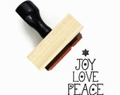 Joy, Love, Peace Rubber Stamp - Christmas Tree Minimal Text Holiday DIY Gift Stamp