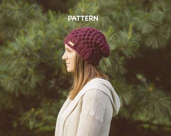 Helix Puff Stitch Beanie Pattern, Adult Slouchy Hat Pattern Crochet PDF Download