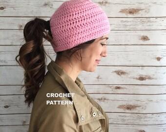Norwalk Runner's Beanie Hat Pattern, Ponytail Hole Hat, Peep Hole Crochet Hat PATTERN, Basic Beanie