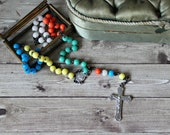 French vintage colorful chaplet rosary cross 1960s religious mission rosary collection prayer protection