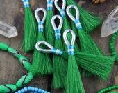 "Green Horse Hair Tassels with Metallic Silver, Aqua Loop, Handmade Western, Boho, Bohemian Jewelry Making Supply, Keychain, 4"" 1 Tassel"