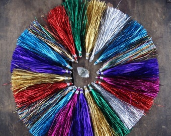 "Tinsel Tassels, Metallic, Shiny, Sparkly Festive Holiday Decor, Jewelry Making Supply, 4"", Gold, Rainbow, Red, Green, Pink, Purple, 4 pieces"