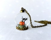 Halloween Necklace Pumpkin & black cat. Fairy tale ring