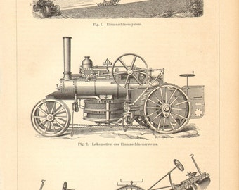 1894 Steam Plough, Steam Engine, Ploughing Engine from the 19th Century Orginal Antique Engraving