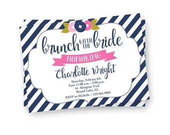 Striped Brunch with the Bride Invite, Floral Bridal Shower Invite, Bridal Brunch Invitation, Brunch Invite, Kraft Paper Invitation