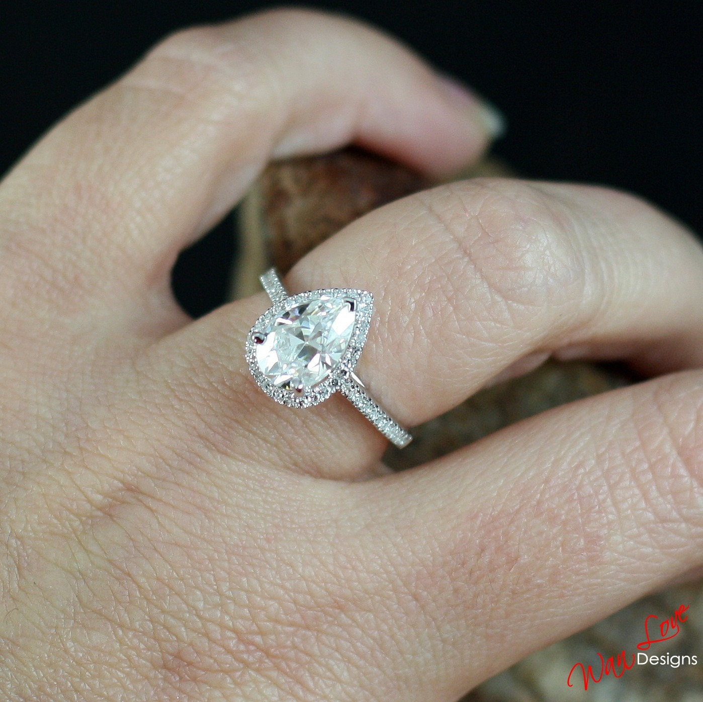 DEF Moissanite & Diamond Pear Halo Engagement Ring Drop Cut