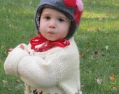Toasty Gnome Hat / Floral Baby / Toddler Hat Soft Cashmere WOOL / Fleece