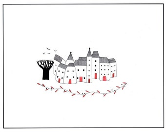 Pen ink and watercolor art illustration print, 10 x 8 drawing of houses, Village art, House drawing, Graphic art print, Black and white art