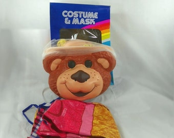 VINTAGE 1986 Ben Cooper Halloween Costume Bear Mask Furskins Boone Child Original Box Packaging Package Boon Teddy Plastic Complete Retro