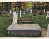 James Fenimore Cooper Grave- 1920s Antique Postcard- Cooperstown, NY- New York Cemetery- Headstones- Cooper Memorial- Paper Ephemera