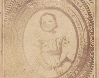 Picture Portrait- 1800s Antique Photograph- Victorian Child- Creepy Little Girl- Haunting Memorial- Found Photo- Unusual CDV- Paper Ephemera