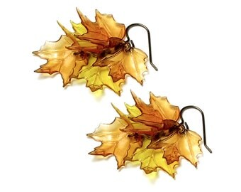 Autumn Leaf Earrings, Antique Brass Fall Maple Woodland Leaves, Golden Amber Topaz Brown Acrylic Leaf, Long Boho Nature Jewelry, Women, Teen