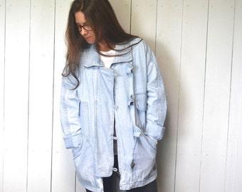 Slouchy Denim Jacket Hunt Club 1980s Vintage Light Blue Toggle Button Oversized Jean Jacket Large XL