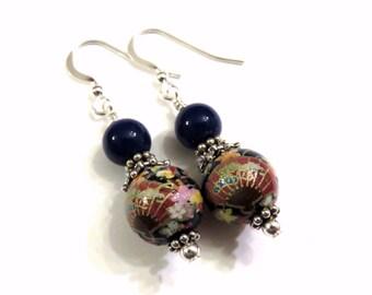 Tensha Blue Fan & Flower Earrings, Tensha Earrings, Blue Earrings, Blue Tensha Earrings, Blue Fan Earrings, Blue Flower Earrings
