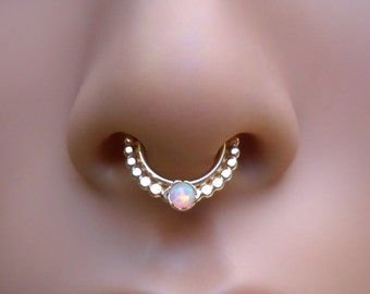 Septum Ring - White Opal Septum  - 14K Yellow Gold Filled Septum Hoop - Septum Piercing - Septum Jewelry