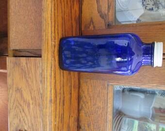 Vintage Large Cobalt Blue Bottle with White Lid