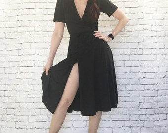 Vintage 70s Iconic Black Wrap Dress XS S Young Edwardian Deep V Puff Sleeves