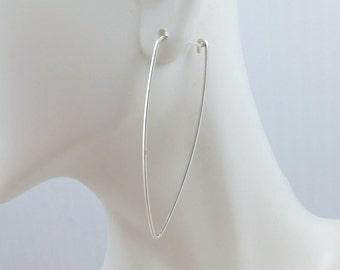 STERLING SILVER HOOPS. Triangle hoops. Modern hoops. Rose Gold hoops. Geometric hoops. Long wire earrings. Large hoops. WaterLelie Jewellery