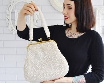 Vintage 1960s Cream and White Beaded Handbag with Gold Clasp Made in Hong Kong