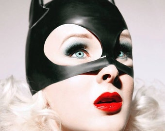 Latex Fetish Hood, Latex Cat Woman Half Hood Mask, Latex Cat Ears Mask