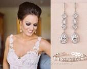 Crystal Bridal Bracelet, Delicate Wedding Bracelet, Swarovski, Statement Bridal Jewelry SET, Wedding Jewelry, Julienne Crystal Bracelet