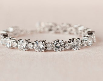 Crystal Bridal Bracelet, Wedding Bracelet, Crystal Bridal Jewelry, Tennis Bracelet, Crystal Bridal Earrings, Swarovki, Nikki Bridal Bracelet