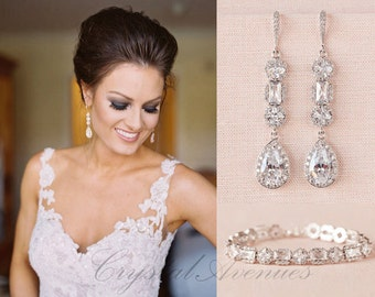 Crystal Bridal Bracelet, Delicate Wedding Bracelet, Swarovski, Statement Bridal Jewelry SET, Wedding Jewelry, Julienne Crystal Bracelet
