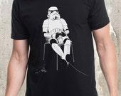 Storm Trooper Playing Videogames - Men's Screen Printed T-Shirt