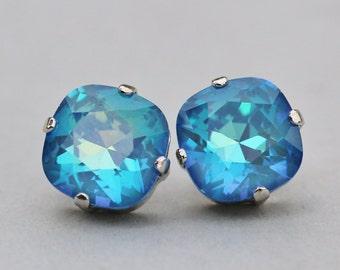 Swarovski ULTRA Blue Cushion Stud Earrings,Swarovski Cushion Post Stud,Ultra Blue Swarovski Crystal,Large 12mm Stud,Everyday,Casual,Azure