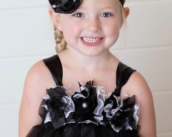 Flower Girl Tutu Dress Black with White Accent, Tulle and Lace, Flower Girls, Weddings, Birthday, Special Occasion, Optional Custom Headband