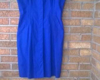 Vintage Blue Sleeveless Dress Size M 8/10 Medium