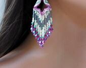Fuchsia Cream & Green Beaded Earrings - Seed Bead Earrings - 3.5 Inch Long Earrings - Bright Pink 3D - Beaded Fringe Earring - Chandelier