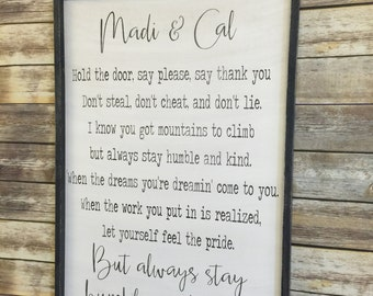 Personalized Always Stay Humble and Kind, 24x36, Framed Wood sign