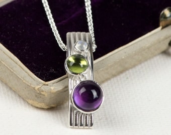 Amethyst pendant - moonstone pendant - February birthstone - June Birthstone - Sterling silver necklace - Whimberry pendant -
