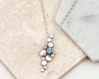 Silver Gemstone Pendant - Pebble Pendant - Gemstone Necklace - Blue Topaz Necklace - Peridot Necklace - Sterling Silver Pendant