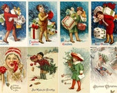 """Large Stickers (each sticker 2.5""""x3.5"""", pack 8 stickers) Scrapbooking Craft Vintage # Christmas Delivery FLONZ 223"""