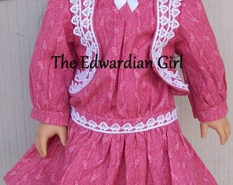 OOAK pink and lace Victorian Edwardian drop waist style play dress.  Fits American Girl, Springfield, OG, Samantha, Nellie.  Made in USA